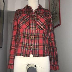 Topshop 100% Super Soft Red Plaid Shirt Sz4 😘